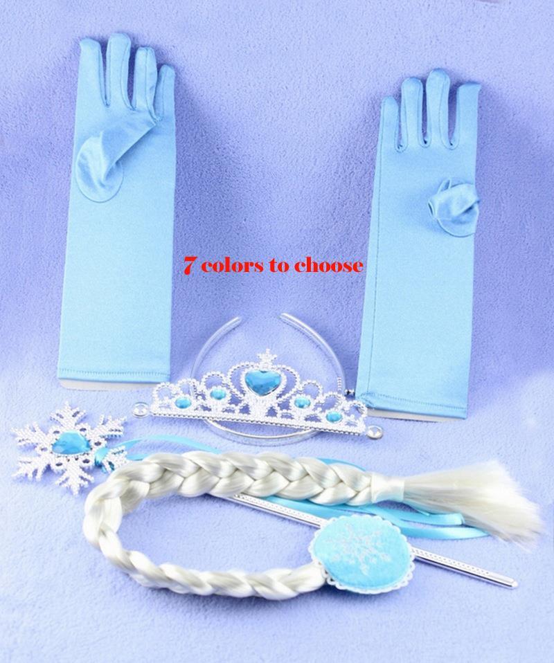 Girls Cosplay Accessories Baby Tiara Princess Elsa Anna Cinderella Party Costume Crown+Wig +Magic Wand+Glove - Qingtao Fashion Co., LTD store