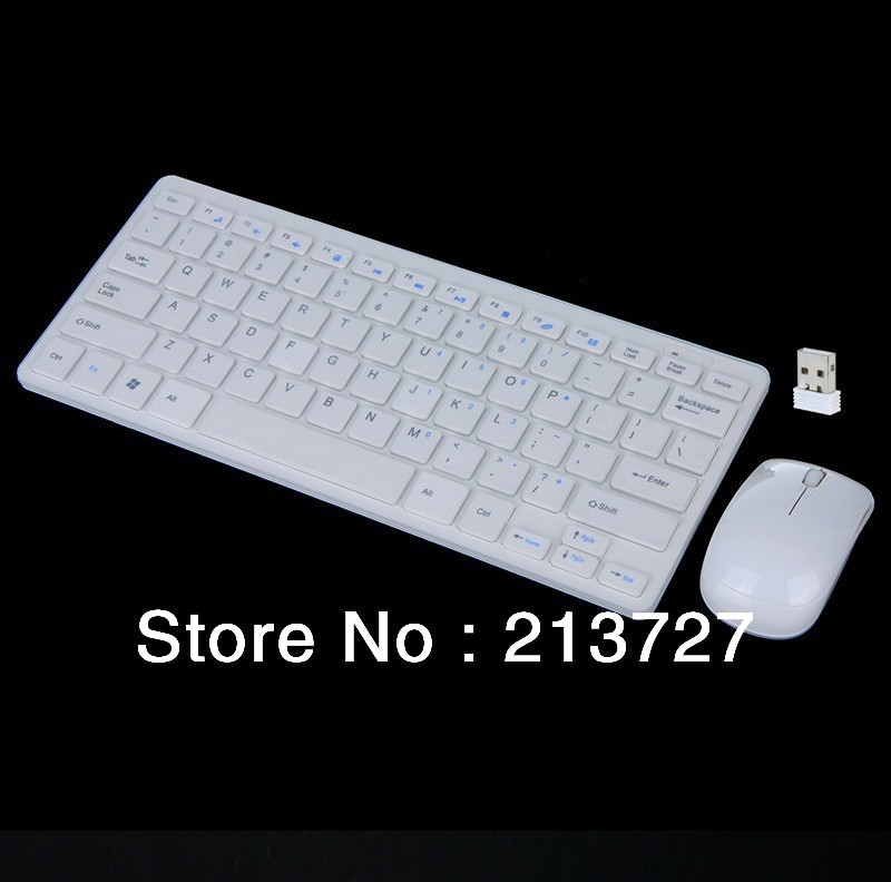 2014 New 2.4GHz Wireless Keyboard Mouse Combo White for Desktop Computer Accessories Keyboard +Mouse + receiver Kit Set(China (Mainland))