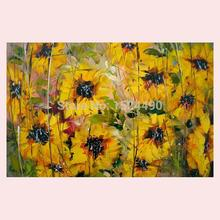 Free Shipping 100% Hand Painted Wall Art Sunflower Oil Painting Decorative Picture Living Room Paint Beautiful Superb On Canvas(China (Mainland))