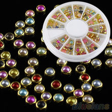 2015 Hot New Fashion 3D Nail Art Nail Stickers Tools Tips Pearls 120pcs Studs  Glitter Rhinestone DIY Decoration+Wheel~na430