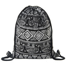 Women Canvas Drawstring Backpack bag printing Vintage College Students School Bagpack Girls Mochila Feminina Sports Sack Bags
