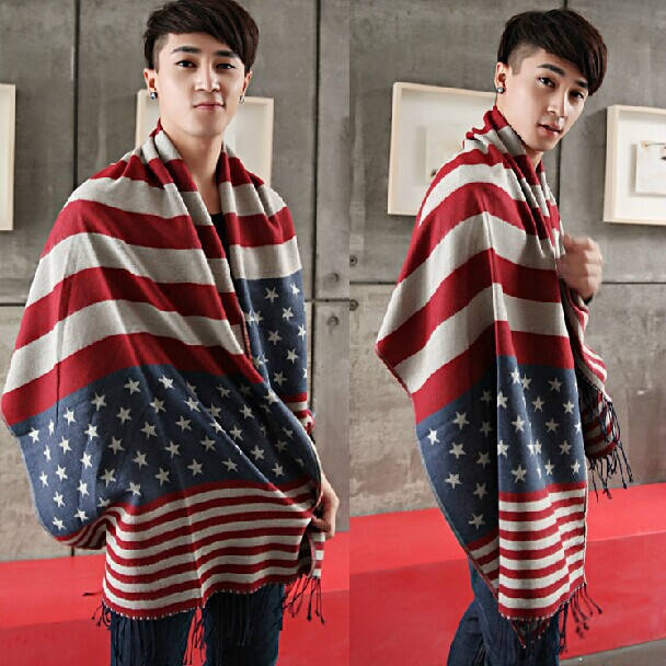 autumn winter keep warm The American flag stars striped scarf Male ladies knitting wool fringed shawl