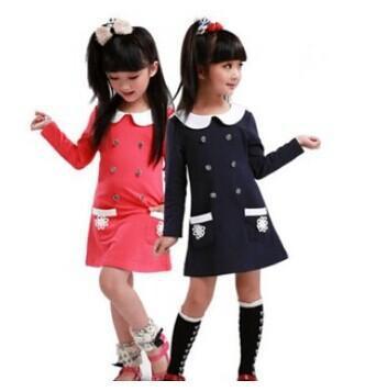 2016 new Autumn children T-shirt dress Baby girls long sleeve dress. double button dot clothes(China (Mainland))