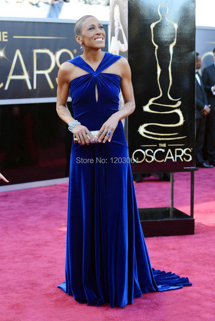 Unique Dark Royal Blue V-neck Celebrity Dresses Robin Roberts Academy Awards 2015 Red Carpet(China (Mainland))