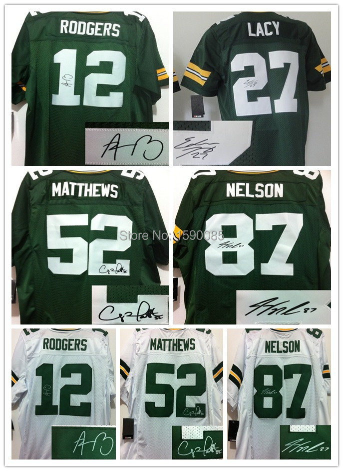 Green Bay #12 Aaron Rodgers,#27 eddie lacy,#52 clay matthews,#87 Jordy Nelson,American Packers Football Jersey,Signed jersey(China (Mainland))