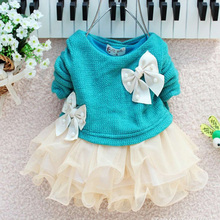 2016 Baby girls autumn/winter wear warm bow sweaters children pullovers outerwear babi sweater baby sweater with tulle tutu