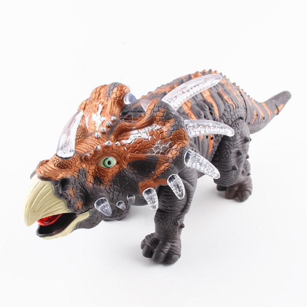 New Automatic Electronic Plastic Godzilla Jurassic Park Robot Sound Flash Walk Electronic Dinosaur Triceratops Toy Hot Sale(China (Mainland))