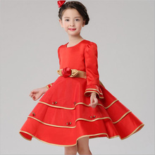 baby girl dress 2016 autumn party Long sleeve bow girls tutu dress princess chiffon toddler lace flower clothes vestido