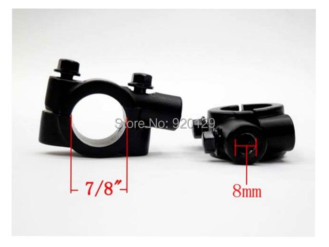 black 8mm motorcycle bike handlebar mirror clamp mount 22mm bracket x2<br><br>Aliexpress