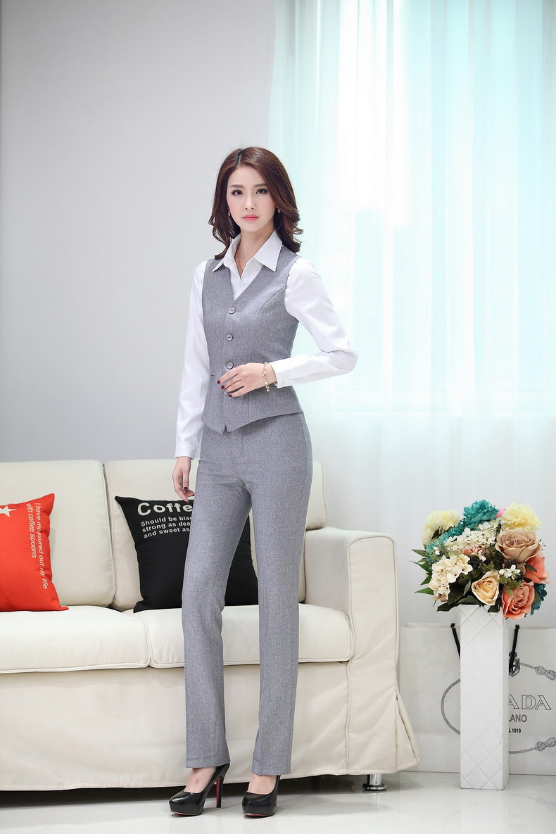 Popular Quality Autumn And Winter Ol Grey Vest And Pants Suit Twinset Womenu0026#39;s Cute Patchwork Uniform ...
