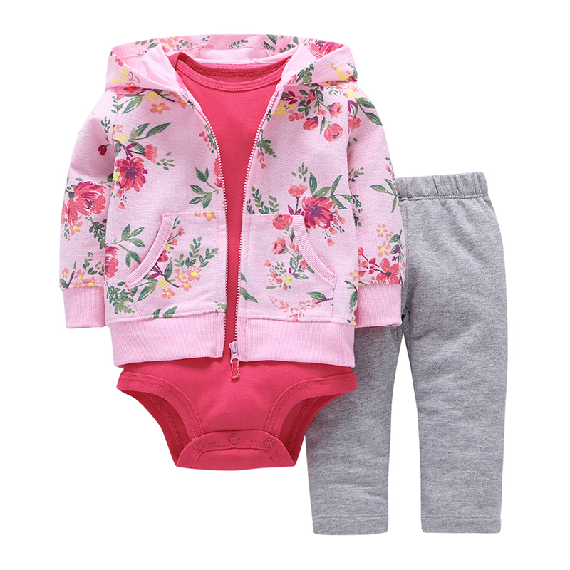 2017 Hot sale baby clothing 3 pieces coat+bodysuit+pant set baby boy girls Fleece suit bebes meninos spring autumn kids clothes(China (Mainland))