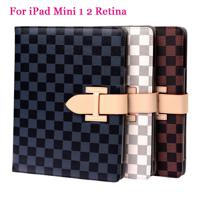 Classic Plaid Pattern PU Leather Megnetic Smart Cover Case For Apple iPad mini 1 2 Retina Studs Buckle Degign New Stand Shell(China (Mainland))