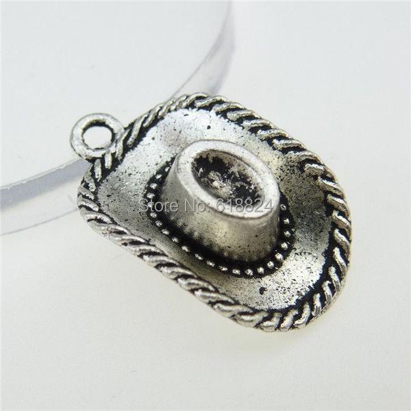 Free shipping 12985 25PCS Vintage Silver Tone Cowboy Hat Pendant Jewelry Making(China (Mainland))