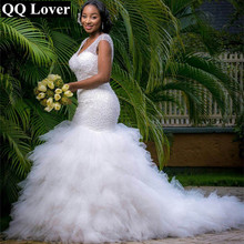 QQ Lover Arabic Style Plus Size Wedding Dress 2017 Deep V Neck Beading Layer Mermaid Wedding Chapel Train Beach Bridal Dress(China (Mainland))