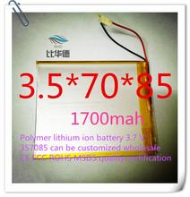 Полимер литиево-ионная аккумулятор 3,7 v, 357085 жестяная банка быть согласно требованиям клиента CE FCC ROHS сертификацией обращению