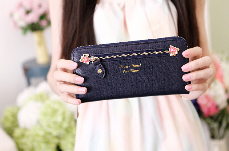 Long Wallet Korean version of the lovely female flowers zipper fashion ladies wallet ladies wallet(China (Mainland))