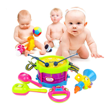 5pcs Kids Toys Roll Drum Musical Instruments Band Kit Children Toy Gift Set(China (Mainland))