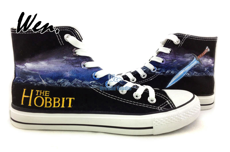 The Hobbit High Top Canvas Shoes Painted Shoes Womens Mens Casual Shoes Hand Painted Art<br><br>Aliexpress