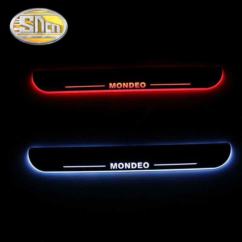 Waterproof Ultrathin Acrylic LED Welcome Scuff Plate Pedal Door Sill Ford Mondeo 2013 2014 2015, Front - SNCNMIKO Store store