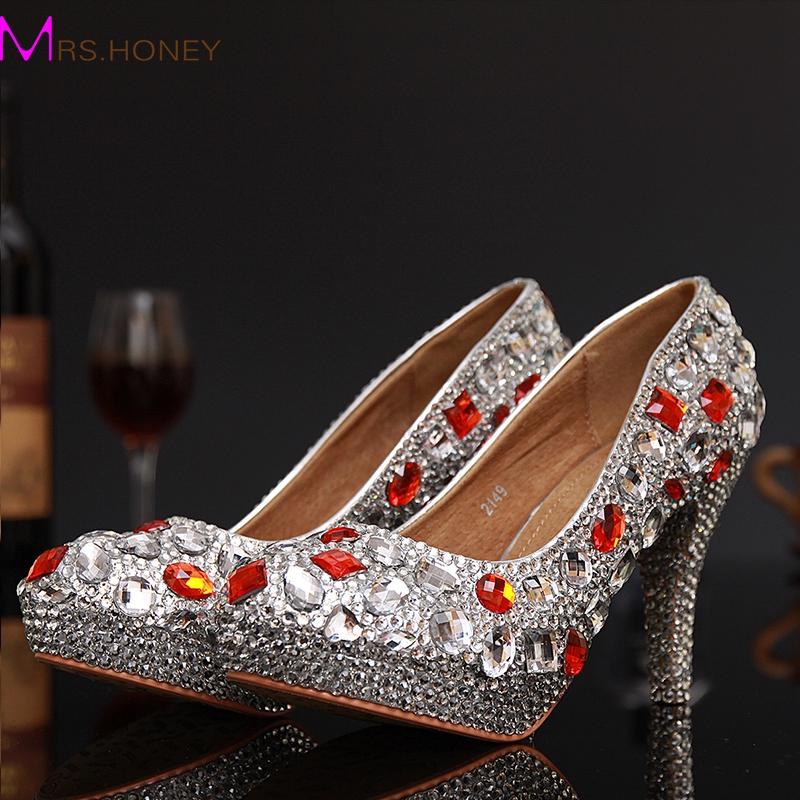 Фотография Sexy Crystal Woman High Heels Shoes Rhinestone Woman Evening Dancing Dress Shoes Ladies Stiletto Heels Shoes sapatos Femininos
