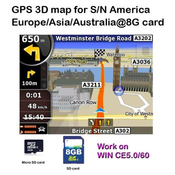 Supernova Sales 8G branded card with Latest 3D map of South/North America/Europe/Asia/Australia in for Car DVD Player