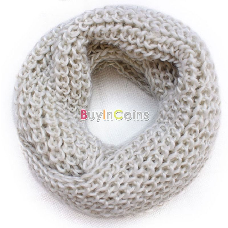 Winter Women from india Warm Infinity 2 Circle Cable Knit Cowl Neck Long Scarf Shawl US AS #47354(China (Mainland))