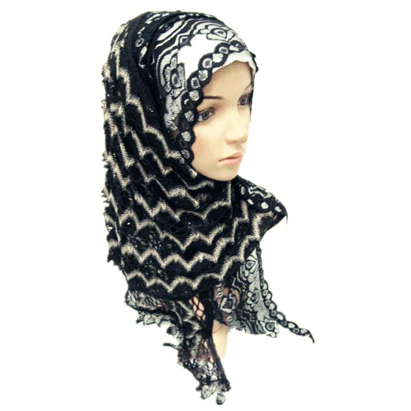 New Fashion Muslim Hijab Scarf Women Chiffon & Lace Islamic Shawl Pashmina Black(China (Mainland))