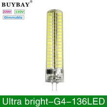 Buy Ultra bright G4 LED Bulb SMD 5730 G4 LED lamp 136LEDs 220V/110V Chandelier lampada Replace Halogen light dimmable led corn bulb for $12.04 in AliExpress store