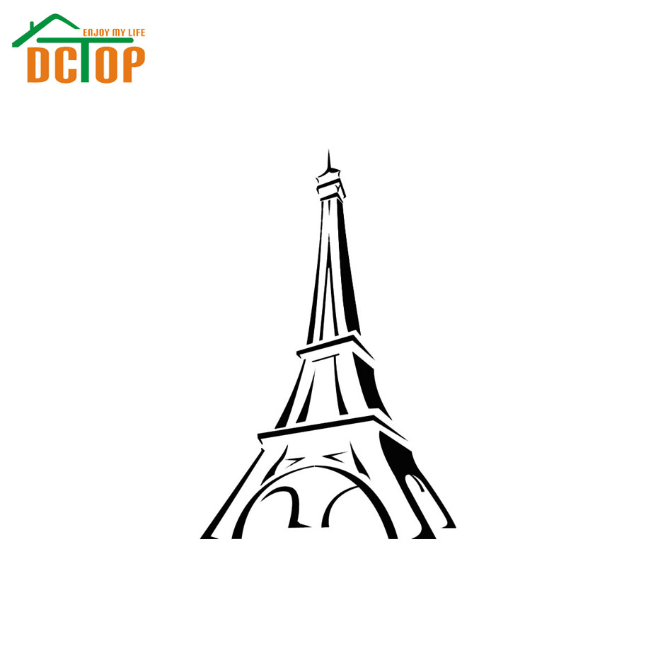 Hot Sale Paris Eiffel Tower Wall Sticker Living Room Home Decor Vinyl Removable Creative Nursery Wall Decal(China (Mainland))