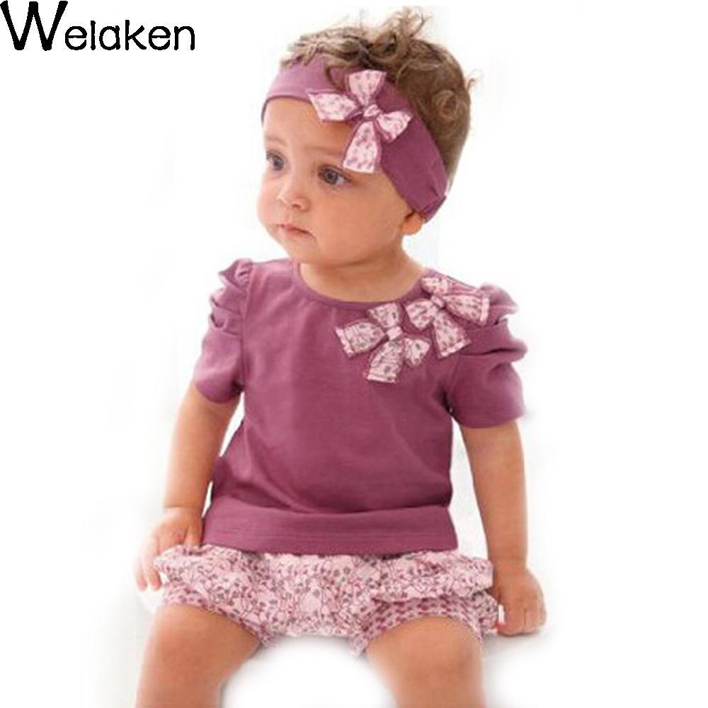 New Arrival 2016 Baby Girl Clothing Set Bow T-Shirt + Floral Shorts +Headband 3pcs Toddler Clothes Baby Set(China (Mainland))
