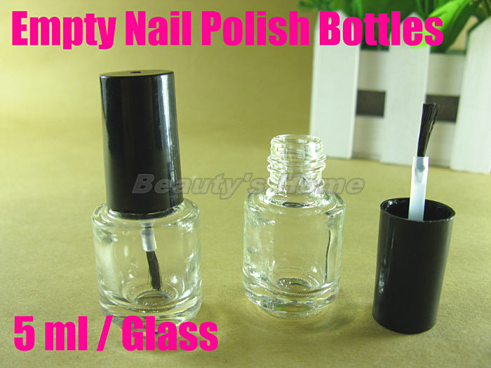 5ml empty nail polish bottle with small brush nail art container small/empty glass bottles free shipping wholesale #1669(China (Mainland))