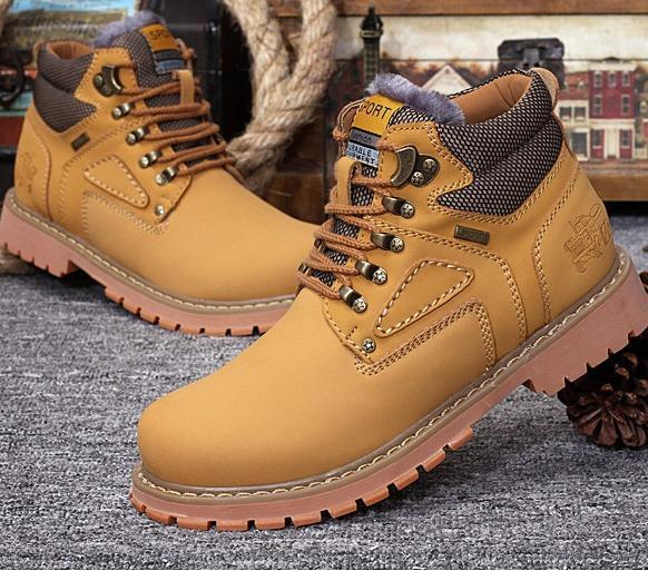 Men Boots High Warm Autumn & Winter Classic Mens Leather Work Botas Masculinas Male Ankle Shoes Chaussure Homme Size 38-44