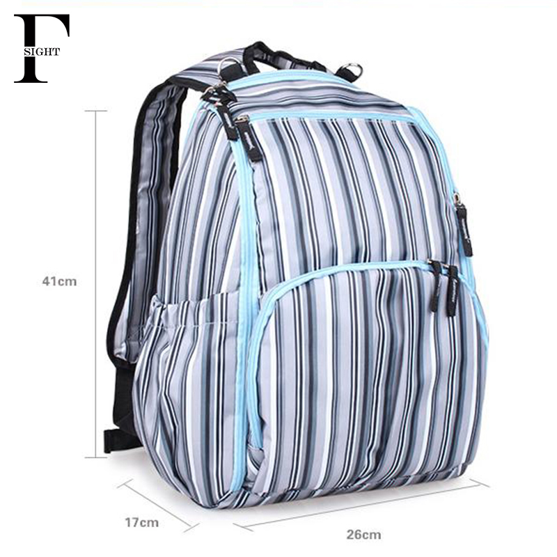 Strip print baby diaper backpack mother baby maternity nappy bag waterproof insulation baby stroller organizer diaper bags(China (Mainland))