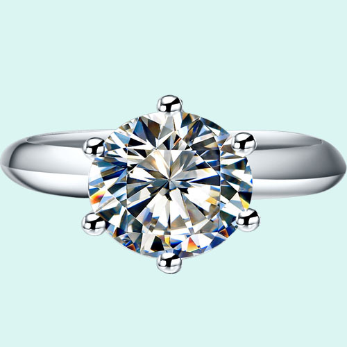 Dropshipping 3CT Classic 6Prongs Synthetic Diamond Wedding Rings for Women 925 Sterling Silver Jewelry Platinum Plated Ring Gift(China (Mainland))
