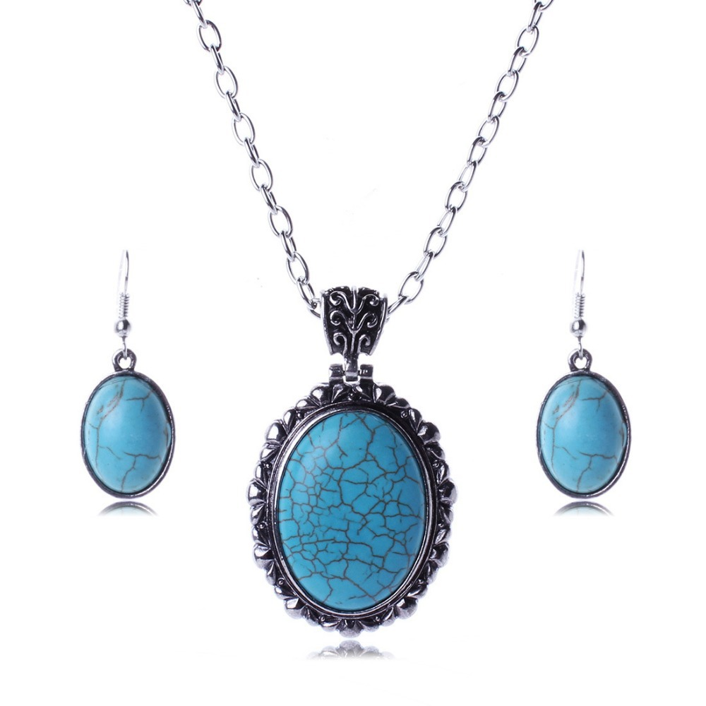 Tibet Silver blue turquoise water drop vintage necklace earrings set SS2005(China (Mainland))