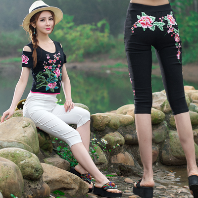 Women female summer m-4xl ethnic brand black white red embroidery pencil pant knee length capris traditional Chinese clothing