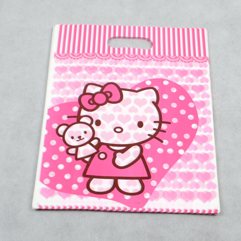 10pcs Hello Kitty gift Bags Flat Pocket Bag Cookies Bags Candy Plastic Packaging Bags(China (Mainland))