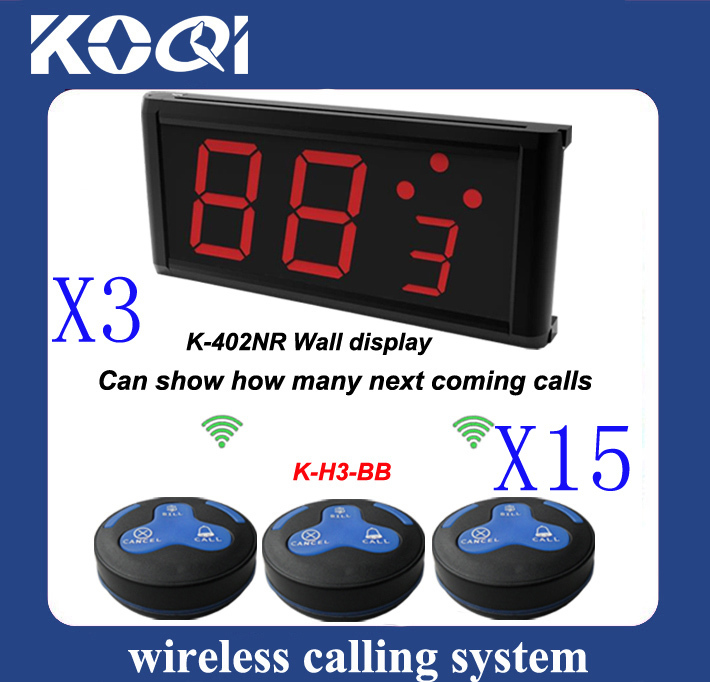 best design 15 pcs of H3-BG buttons + 3 pcs of K-402NR display receiver,Restaurant Guest Paging System(China (Mainland))