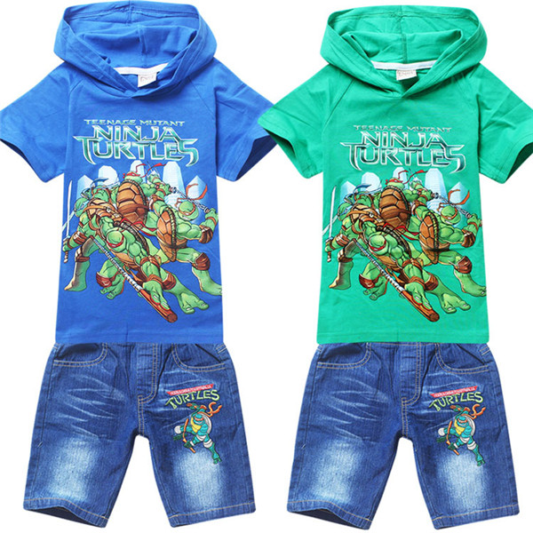 New Teenage Mutant Ninja Turtles Printed Hooded Boys Kids Clothes Short Sleeve Tops With Jean Pants Trousers ES-977