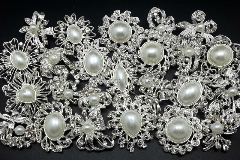 24pc/lot Mixed Sliver Pearl Crystal Brooch Pin DIY Wedding Bridal Bouquet B24MPP(China (Mainland))