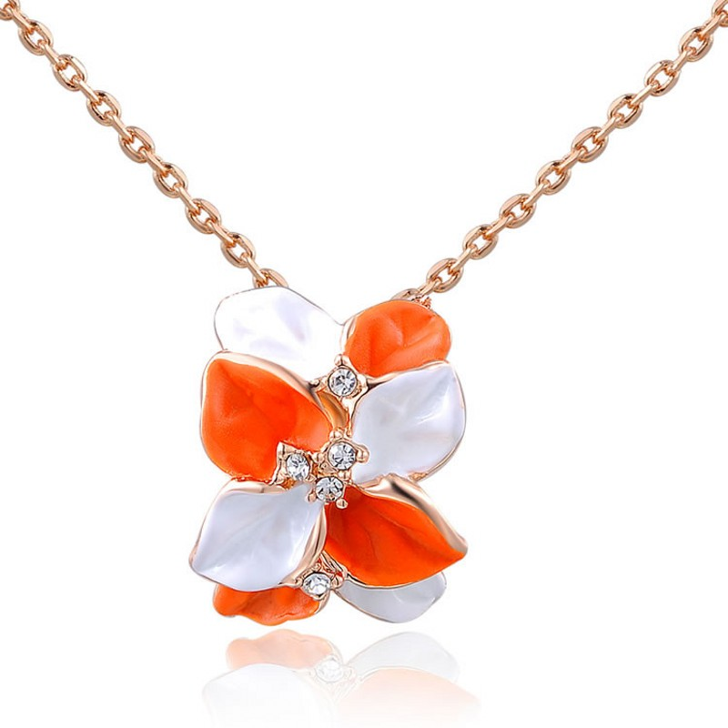 Charming Bib Collar Necklace Jewelry Items New Fashion Exquisite Flower Ribbon Gem Petals Colour rose petal Necklace(China (Mainland))