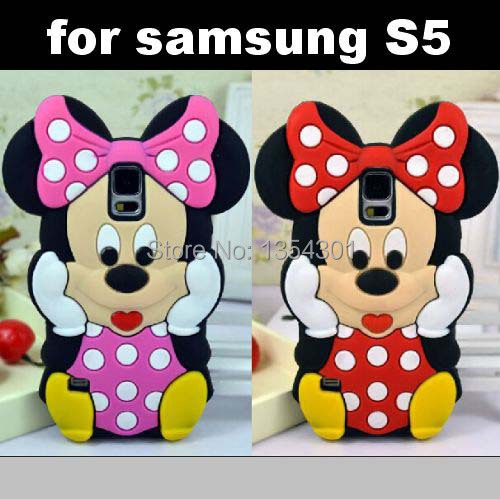 Samsung S5 SV i9600 Lovely Cute Mickey Mouse Minnie 3D Soft Rubber Silicone Phone Cover Case Skin - IRS Trading Co.,Ltd store
