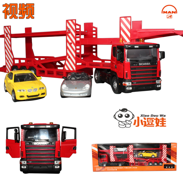 free shipping, Large double layer engineering car transport vehicle truck alloy car model, toy car
