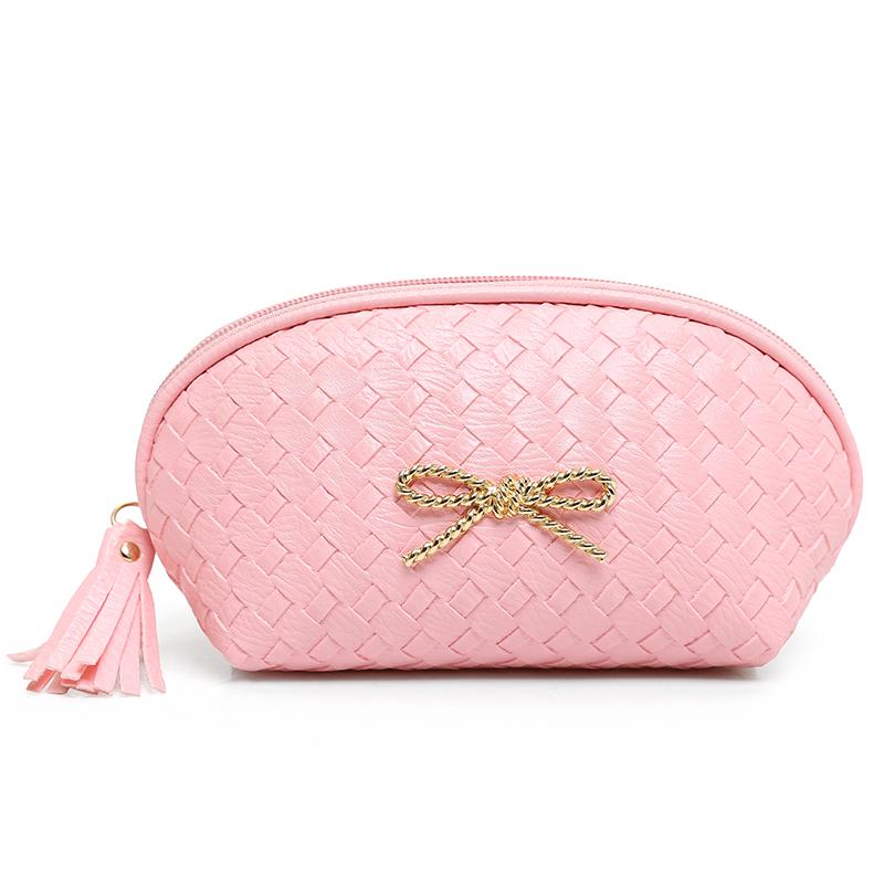 Knitting Pattern Makeup Bag : Fashion Knitting Pattern PU Leather Cosmetic Bag Women MakeUp Bag Organizer S...
