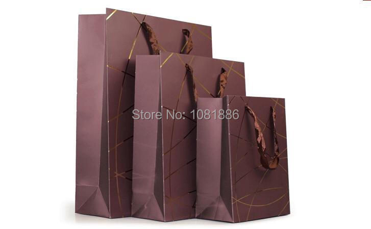 Free shipping ! Dark Brown Coffee color paper shopping bags with drawstrings size 18*10*24CM(China (Mainland))