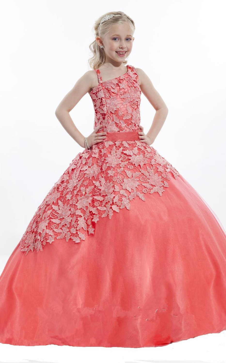 Popular Little Pageant Dresses Coral Long-Buy Cheap Little Pageant ...