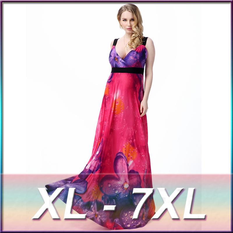 2016 New Spring Summer National wind bohemian chiffon high quality long dress beach print dress large  Big yards L-6XL