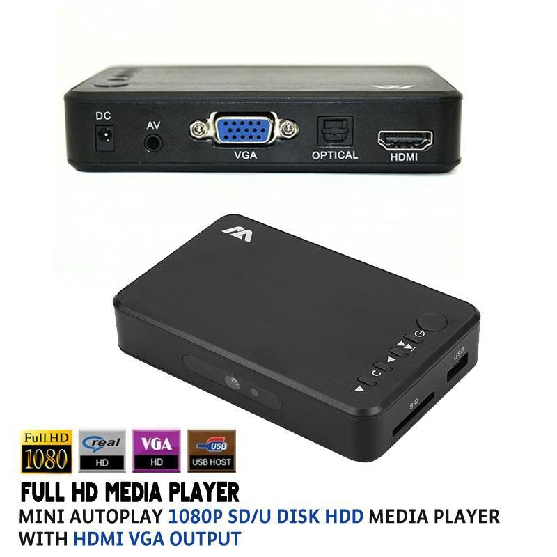 Mini Full HD Media Player Autoplay 1080p USB External HDD SD U Disk Media Player With HDMI VGA AV Output FOR MKV RMVB H.264 WMV(China (Mainland))