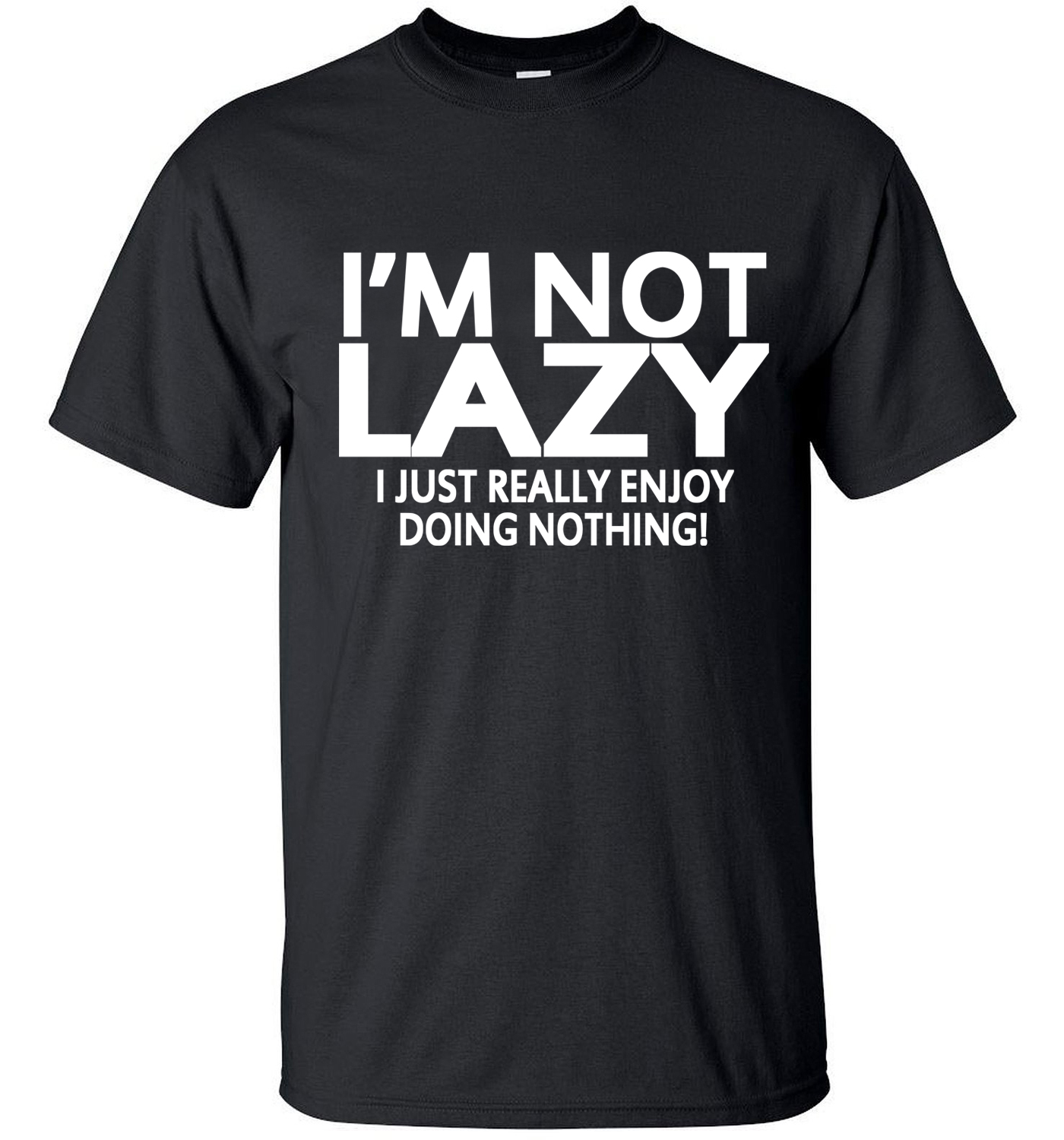Men short sleeve T-Shirt 2017 i'm lazy just enjoy nothing streetwear hip hop funny t shirt crossfit Tops Tees homme