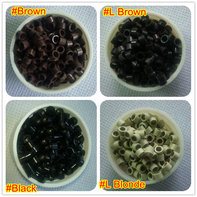 4000pcs 4jar 4.0*3.0*3.0mm Thread Micro Silicone Rings/Links/Beads For Hair Extensions Tool Kit,4 Colors Optional